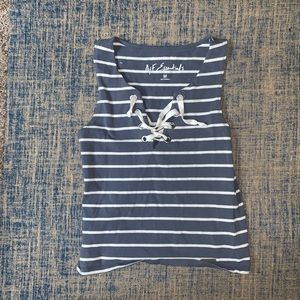 Cropped Striped Lace Up Tank